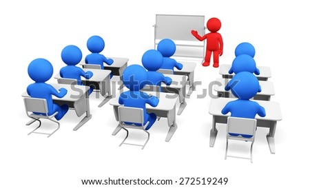3D. Training, Classroom, Education. - stock photo
