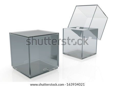 3d transparent box with cover  products container blank template and rim cut function pick option for useful core slide in isolated background with work paths, clipping paths included  - stock photo