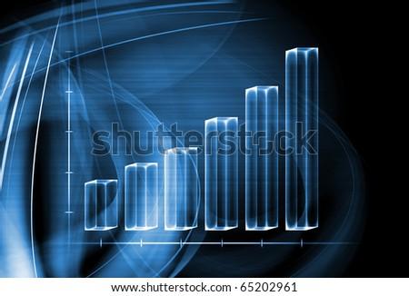 3d transparent graph bar - stock photo