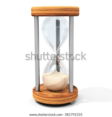 3d transparent sand hourglass on white background - stock photo