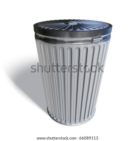 3d trashcan isolated on white background