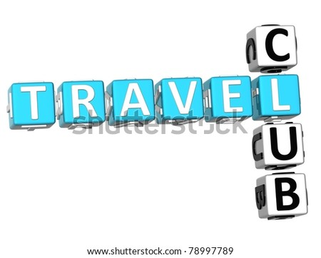 3D Travel Club Crossword on white background