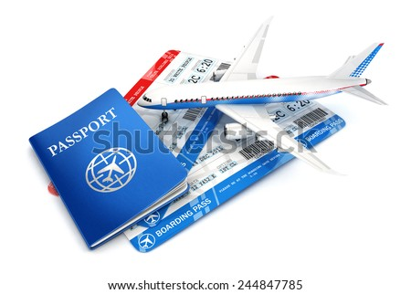 3d travel concept with airplane, passport and boarding pass, isolated white background, 3d image - stock photo