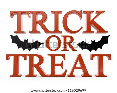 3D trick or treat halloween text - stock photo