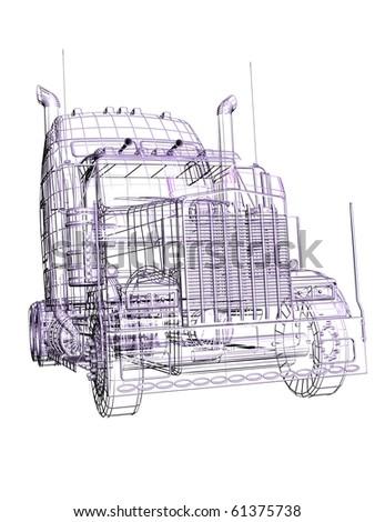 3d truck - stock photo