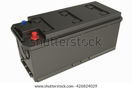 3D truck black batteries on white