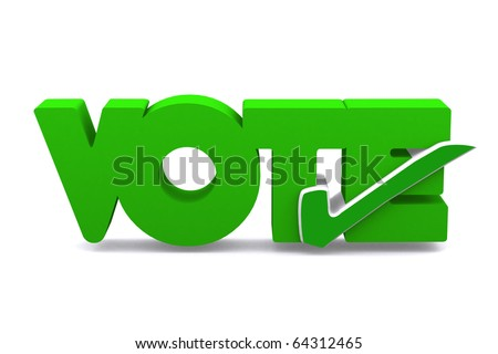 3d true symbol in word VOTE on white isolated background - stock photo