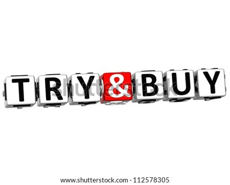 3D Try And Buy Button Click Here Block Text over white background