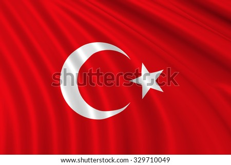 3d Turkey waving flag - stock photo