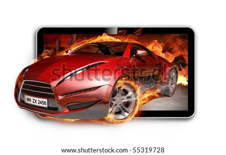3D TV. Burning sports car on TV screen. - stock photo