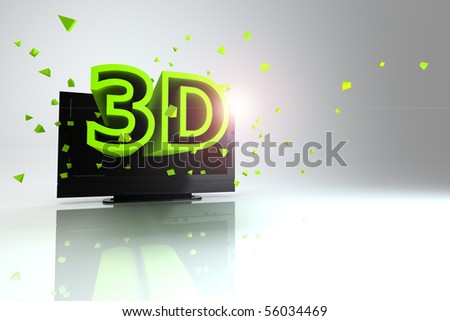 3D TV concept image. - stock photo