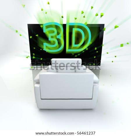 3D TV concept image. - stock photo