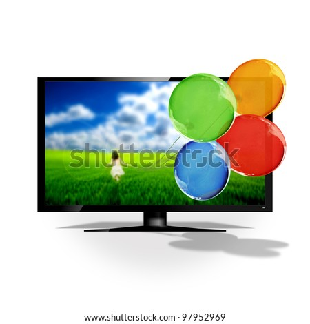 3D TV isolated on white - stock photo