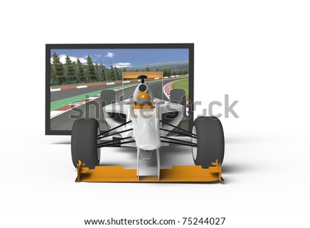 3d TV. Racing Car flying out of TV