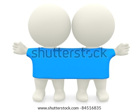 3D twins wearing the same t-shirt - isolated over white - stock photo