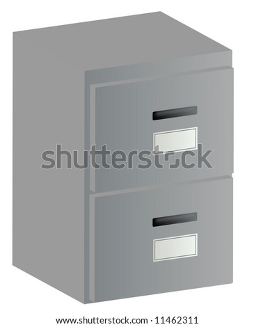 3d two drawer grey filing cabinet with handles and labels