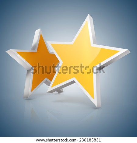 3d - Two gold stars on blue gradient  background