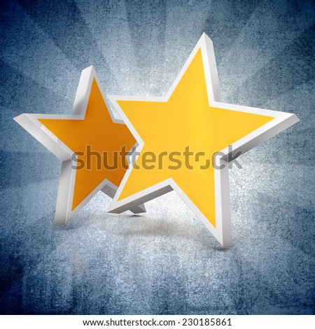 3d - Two gold stars on blue gradient  background  - stock photo