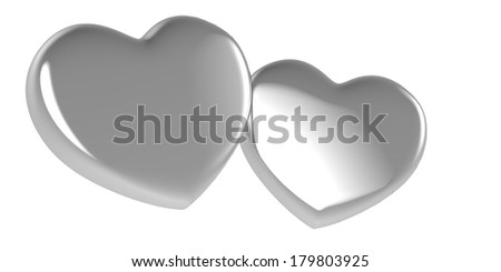 3D Two heart shapes - stock photo