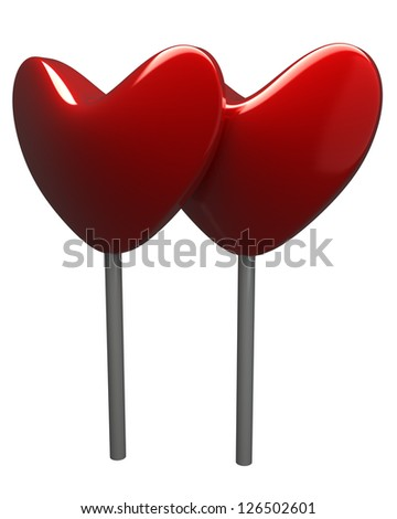 3d two hearts sweet candies isolated on white background - stock photo