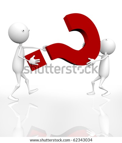 3d two men have a question mark. - stock photo