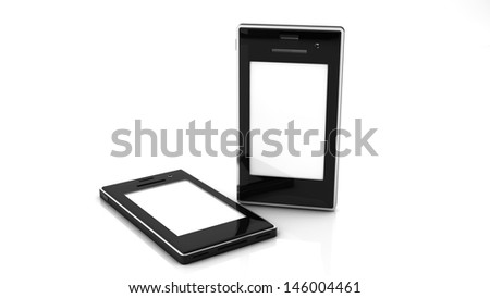 3d Two mobile with white screen on white blackground