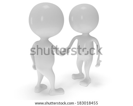 3d two white people shake hands. Render isolated on white. Handshake, business, teamwork, partnership concept.
