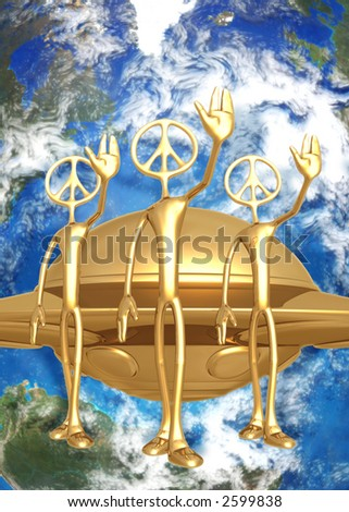 3D UFO Alien Concept We Come In Peace - stock photo