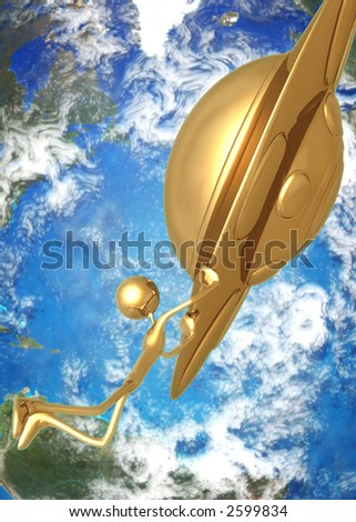 3D UFO Saucer Concept Take Me With You - stock photo