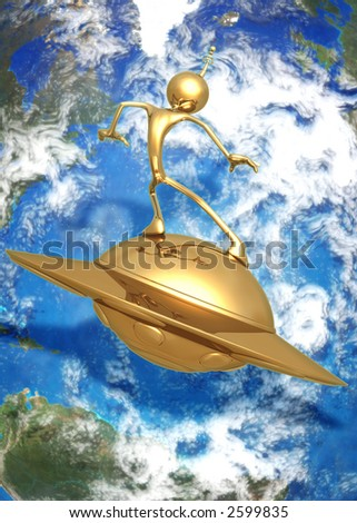 3D UFO Saucer Surfing Concept - stock photo