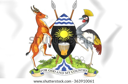 3D Uganda Coat of Arms. Close Up.    - stock photo
