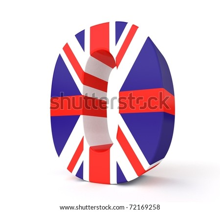 3d UK flag collection - number 0 - stock photo