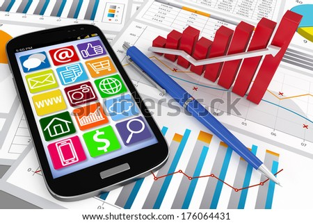 3D ultra slim Smart Phone on Document with Chart and Graph - Global Business Communications - stock photo