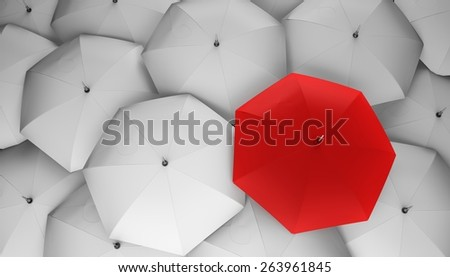 3D. Umbrella, Individuality, Standing Out From The Crowd. - stock photo