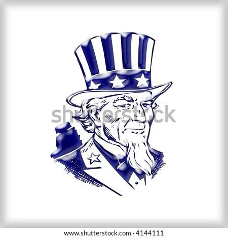 3d Uncle Sam - stock photo