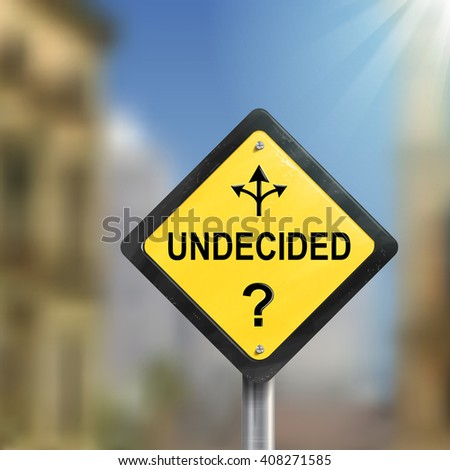 3d undecided road sign with three different ways isolated on blurred street scene - stock photo