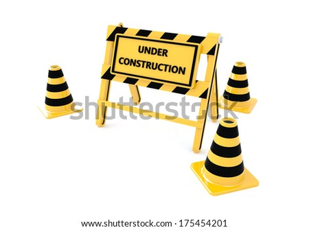 3D Under construction warning sign with white background