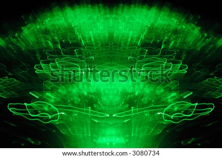 3D undulation pattern. A green abstract light being shaken. - stock photo