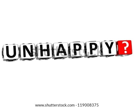 3D Unhappy Button Click Here Block Text over white background - stock photo