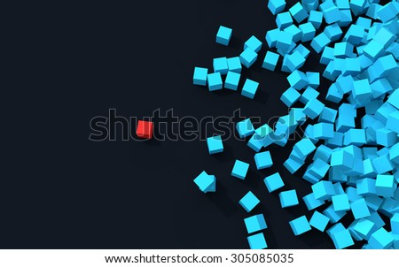 3d unique cube standing out from pile of cubes - stock photo