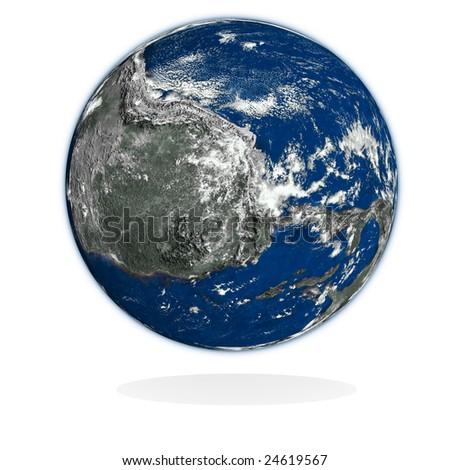 3d unknown planet on white. Data source: nasa. - stock photo