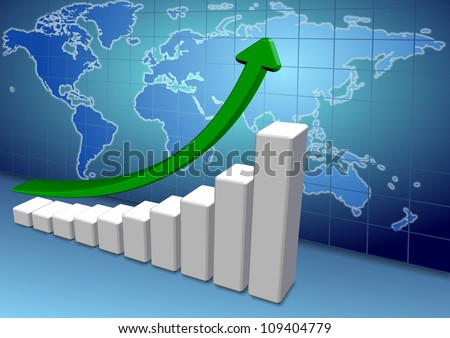 3d up chart and arrow with a map of world in the background / world chart - stock photo
