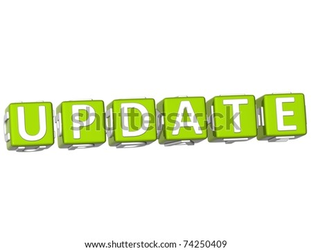 3D Update Cube text on white background - stock photo