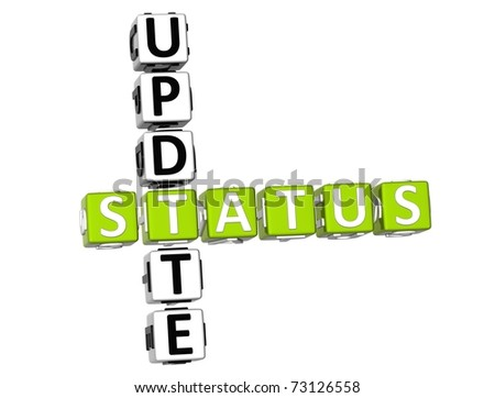 3D Update Status Crossword on white background - stock photo