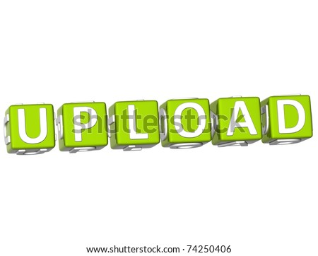 3D Upload Cube text on white background - stock photo