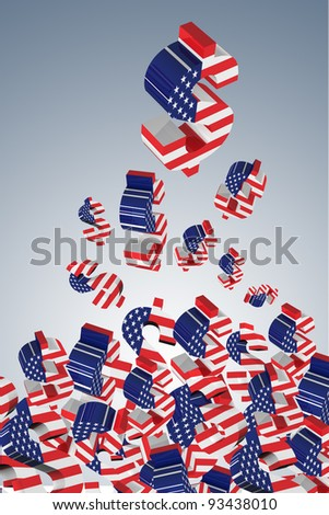3D US dollar signs with USA flag.