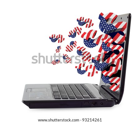 3D US dollar signs with USA flag. Ejected from the Laptop - stock photo