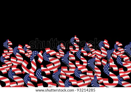 3D US dollar signs with USA flag. isolated on black background - stock photo