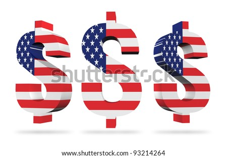 3D US dollar signs with USA flag.  isolated on white - stock photo