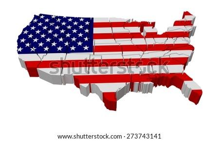 3D. USA, Map, Three-dimensional Shape. - stock photo